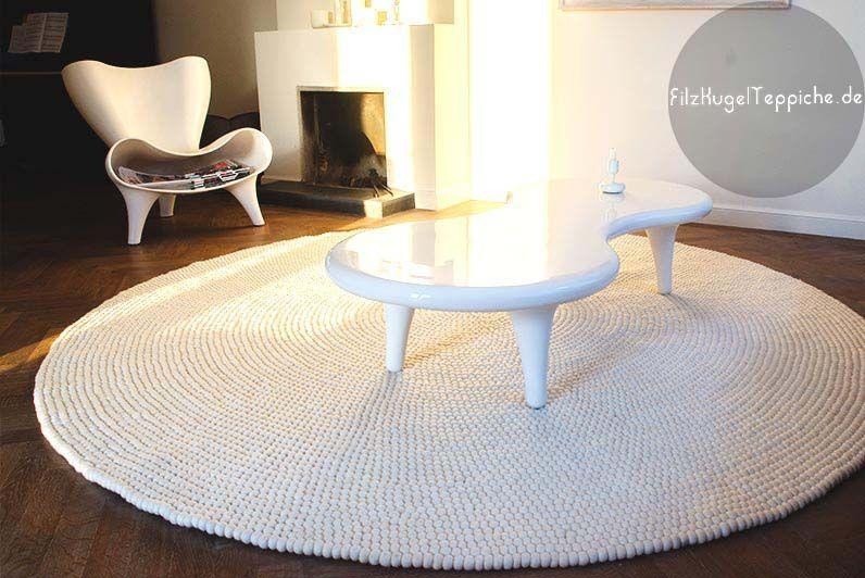 Filz-Kugel-Teppiche-very White weis design